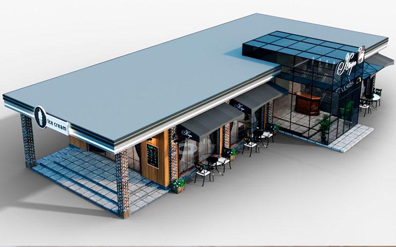Diseño Restaurante Exterior 3D